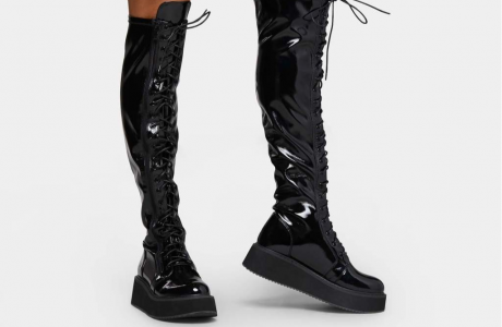 Blade Lace Up Patent Boots