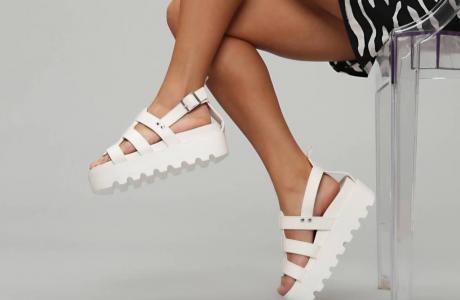 White TIBER Chunky Roman Sandals